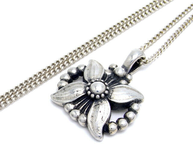 Georg Jensen Necklace Pendant 1998 Sterling Silver Denmark Jewelry #13710