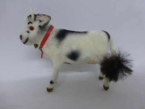 Wagner Kunstlerschutz Minatare Cow Spotted Black Flocked Animal Vintage Putz