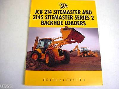 Jcb 214 214s Sitemaster Tractor Loader Backhoe 8 Pages1994 Brochure