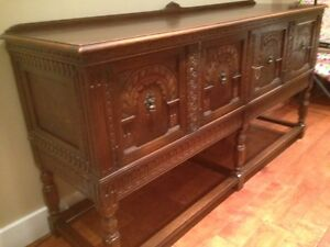 Antique Solid Oak Buffet Sideboard