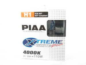 PIAA H1 Xtreme White Plus Headlight Bulb Twin Pack 4000K Fog Light 55w = 110w