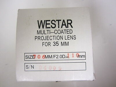 Westar  Focal Length 110mm 35mm Cine Projector Lens F2.0 New MIB
