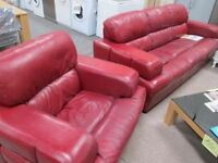 *****BARGAIN*BRIGHT RED LEATHER 3+1 SINGLE SEATER SOFA***** *****REAL LEATHER******