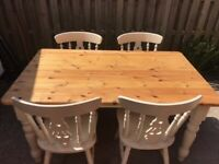 ANTIQUE PINE FARMHOUSE TABLE & 4 CHAIRS 5FT X 3FT DINING KITCHEN