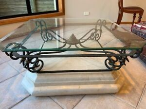 ELEGANT WROUGHT IRON GLASS & STONE COFFEE TABLE
