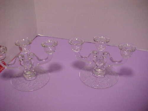 Pair Antique Vintage Cambridge Glass WILDFLOWER 3 Light Candle Holder