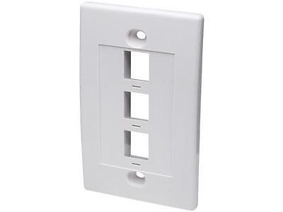 Intellinet Network Solutions 163309 Single Gang Keystone Wall Plate  3 Outlet  W