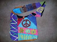 New Cross Body Bag With Distressed Peace Sign.