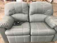 NOW SOLD Reclining 2 Seater Leather Sofa and Reclining Chair Immaculate Top Quality!