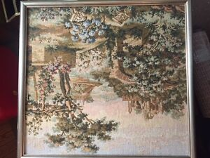 Antique Framed Tapestry Painting