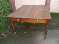 Victorian Oak Top Kitchen Table