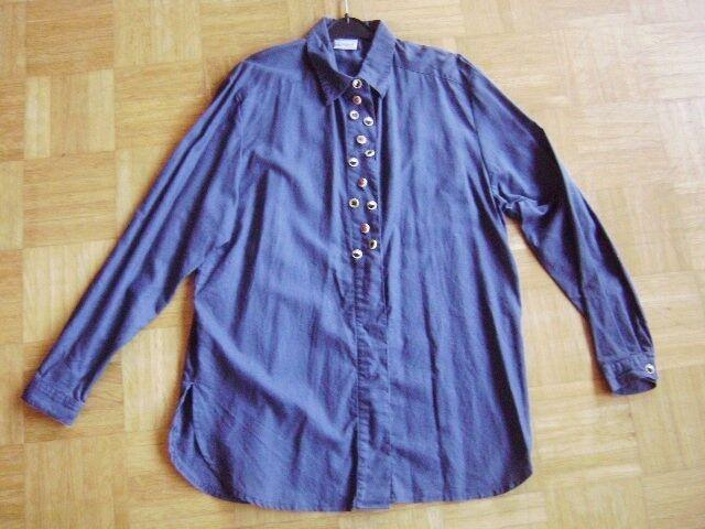 @Alphorn@ Traditional Costume Blouse Dark Blue Great Buttons Canvas/Cotton