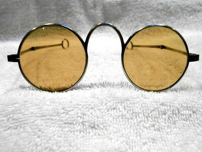 """LARGE ROUND 1920'S SUNGLASSES """"CHINESE"""" STYLE WITH HALLMARK SILVER COLOR!"""
