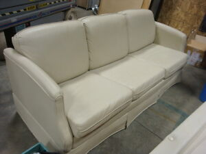 Beige Leather RV Couch/ pull out bed