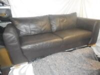 Three seater chocolate brown sofa's x 2