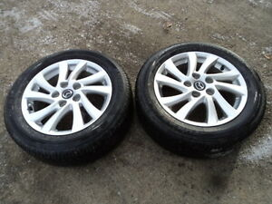 2 Bridgestone Tires with Rims for Mazda 3 205/55/16
