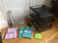 Stationery: Filing Trays, Stapler, Pukka Pads, Binder, Sticky Note pad. Collect Fulham