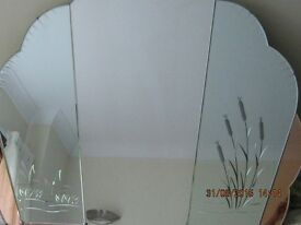 """Extra large fan shaped art deco style mirror. Measures approx. 43"""" wide 37"""" high."""