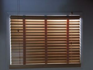 Two sets of blinds Brown faux wood. 32x32 in+ 32 x 44 in  NICE!