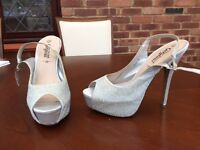New Look Silver Party Shoes 5 1/2 inch heels - Size 7