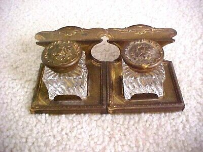 ANTIQUE DOUBLE INKWELL W/ORG. CHERUB LIDS -STAND HAS PEN HOLDER