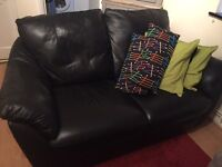 Sofa black two seater, leather excellent condition