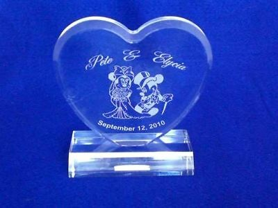 Engraved Minnie Mickey Mouse Heart Wedding Cake Topper Personalized FREE - Mickey Mouse Wedding Cake Topper