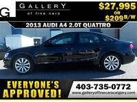 2013 Audi A4 2.0T QUATTRO $209 bi-weekly APPLY NOW DRIVE NOW