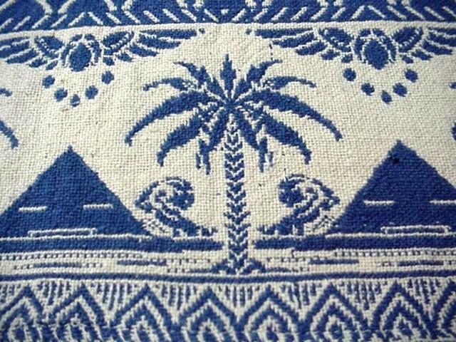 Vintage HEAVY WOVEN COTTON Tablecloth BLUE WHITE Winged Scarab PALM TREES