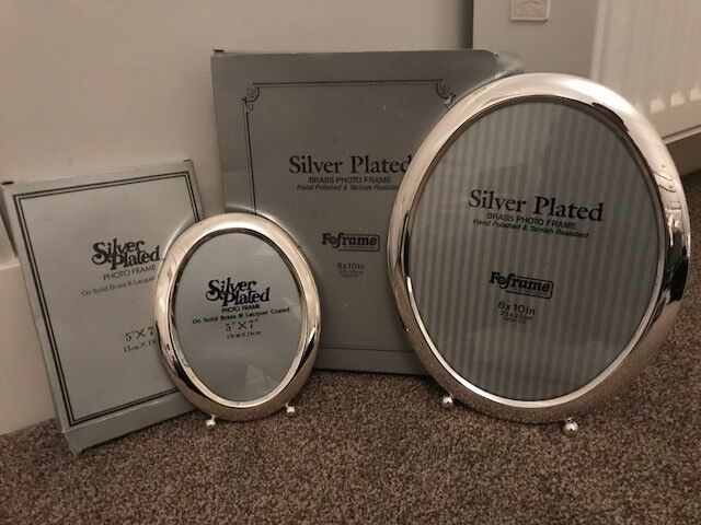 2 X Silver Oval Photo Frames 5 X 7 8 X 10 Inches Brand New