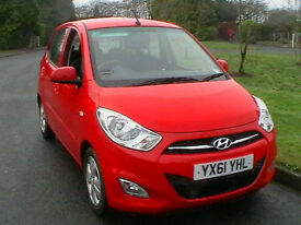 61 REG HYUNDAI I10 1.2 ACTIVE 5 DOOR HATCHBACK IN BRIGHT RED ONLY 37000 MILES