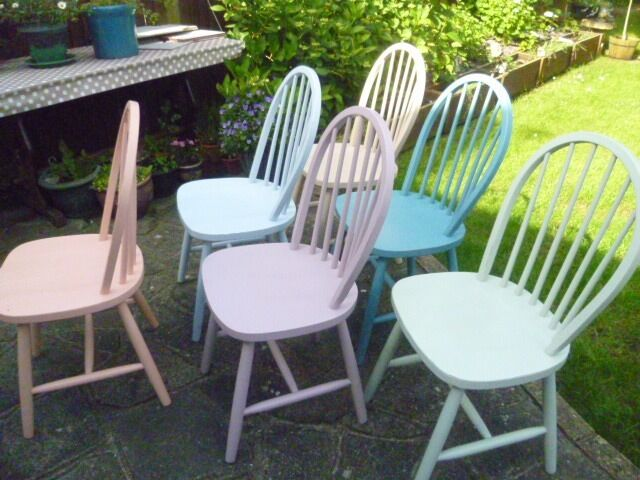 6 X Shabby Chic Multi Coloured Wooden Chairs In Chalk