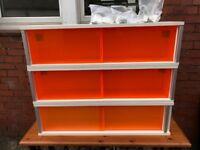 Ikea orange Perspex sliding door shelves x3