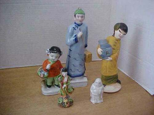 Lot Of 5 Vintage Oriental Figurines Japan One Old Chalkware Free Ship