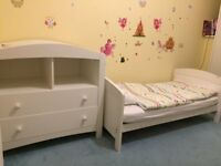 Nursery Furniture: Mothercare Taunton Cot Bed and Matching Changing Unit/Dresser - White - Birth-4YO