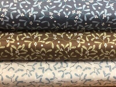 Lewis and Irene 'Winter in Bluebell Wood – Mistletoe' 100% Cotton Fat Quarter...