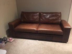 Brown Leather 3 seater sofa and brown leather chair