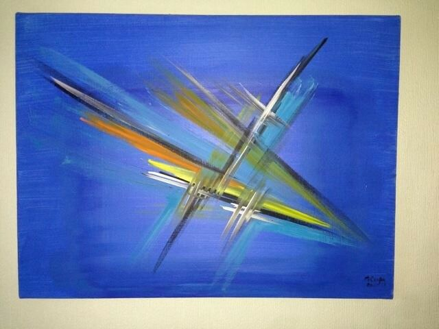 CONTEMPORARY LARGE CANVAS ART 3 OIL PAINTING BRIGITTE COLOGNY