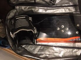 Burton Vapor Snowboard, Dakine Snowboard Bag and Broken Flow bindings