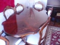 IMMACULATE ITALIAN STYLE DINING TABLE WITH 6 CHAIRS PLUS MATCHING COFFEE AND SMALL OCCASIONAL TABLE.