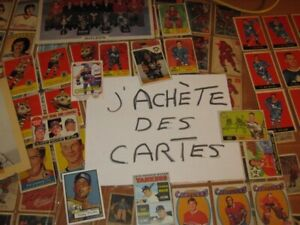 Cartes anciennes hockey, baseball, héritages, collections, ertc