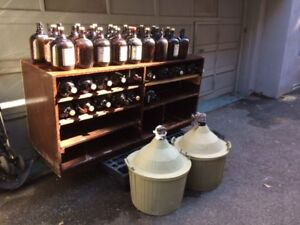 Wine Carboys 2 Demijohns 54L and 40 Glass Containers of 4L each