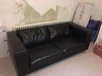 **PRICE DROP** Quick Sale - Black Leather 2/3 Man Sofa, great condition