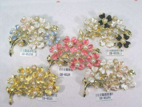 DESIGNER  SIGNED  VINTAGE WITH FAUX PEARLS  PIN BROOCHS  LOT 852.5UP