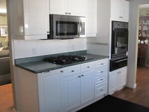 White Kitchen Cabinets, counter, sink and taps