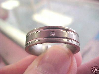 Gents  Diamond Titanium  6 Mm  Modern Ring  Size 9  New
