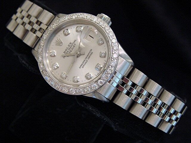 Vintage Rolex Datejust Lady Stainless Steel Watch Silver Diamond Dial 1ct Bezel