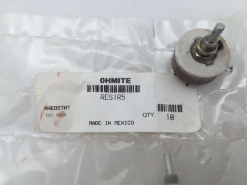 RES1R5 Ohmite, 12.5 Watt 1.5 Ohm 305V, Standard Shaft, Linear Rheostat