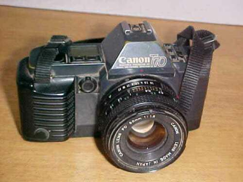 Canon T70 35mm Camera with Canon FD 50mm 1:1.8 Lens Untested Free Ship