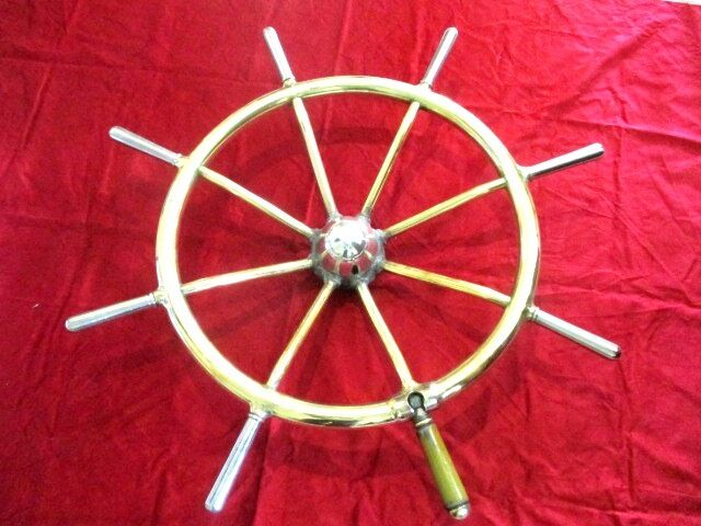 Antique Brass ship wheel Boat Steering